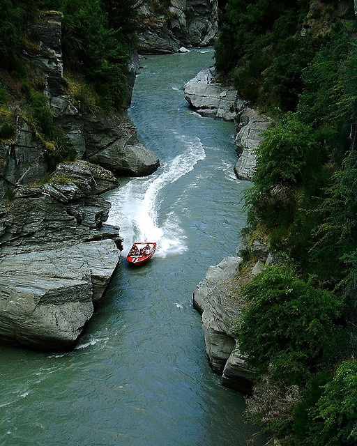 Jet boating through Shotover Canyon is one of many ways to get your heart racing in Queenstown. Photo by Rob Young.