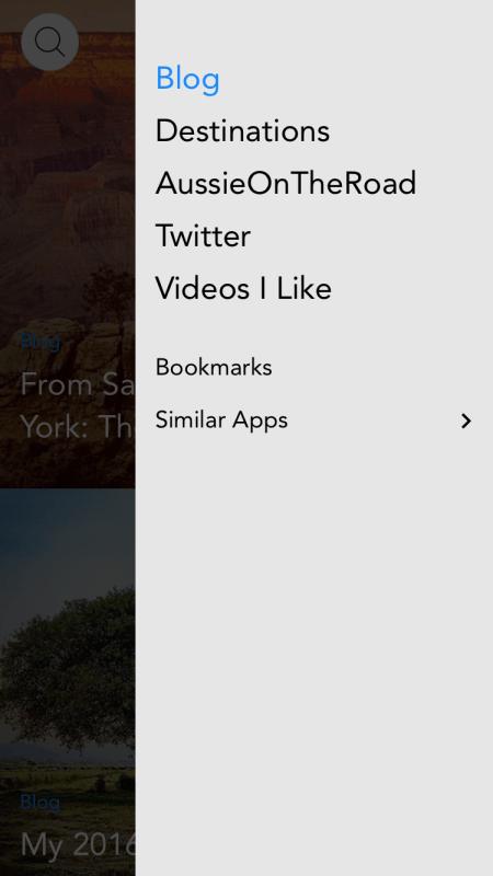 aussie on the road app menu