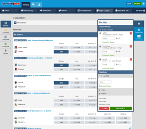 Sportingbet betting interface
