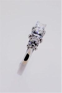 Platinum & 3-Stone Cushion Cut Diamond Ring - Austen Jewellers