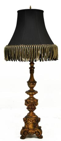 LARGE SPANISH STYLE GILDED CANDLESTICK TABLE LAMP ...
