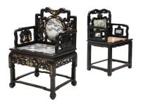(2) CHINESE INSET MARBLE ARM CHAIRS