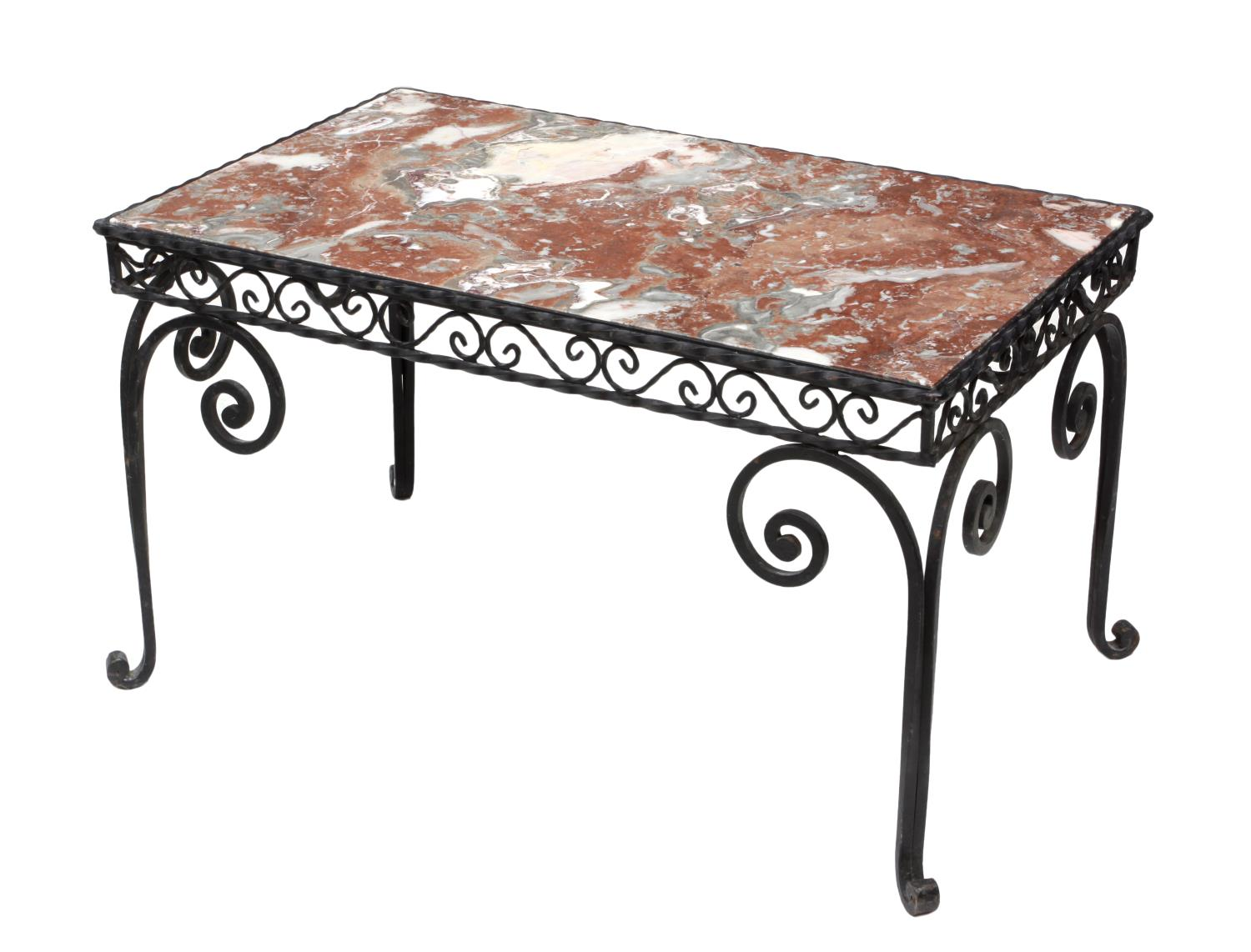 FRENCH WROUGHT IRON MARBLE TOP COFFEE TABLE