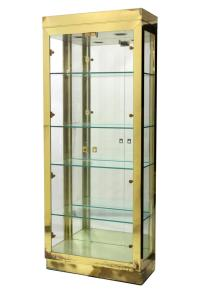 BRASS & GLASS LIGHTED STAND UP DISPLAY CABINET - March ...