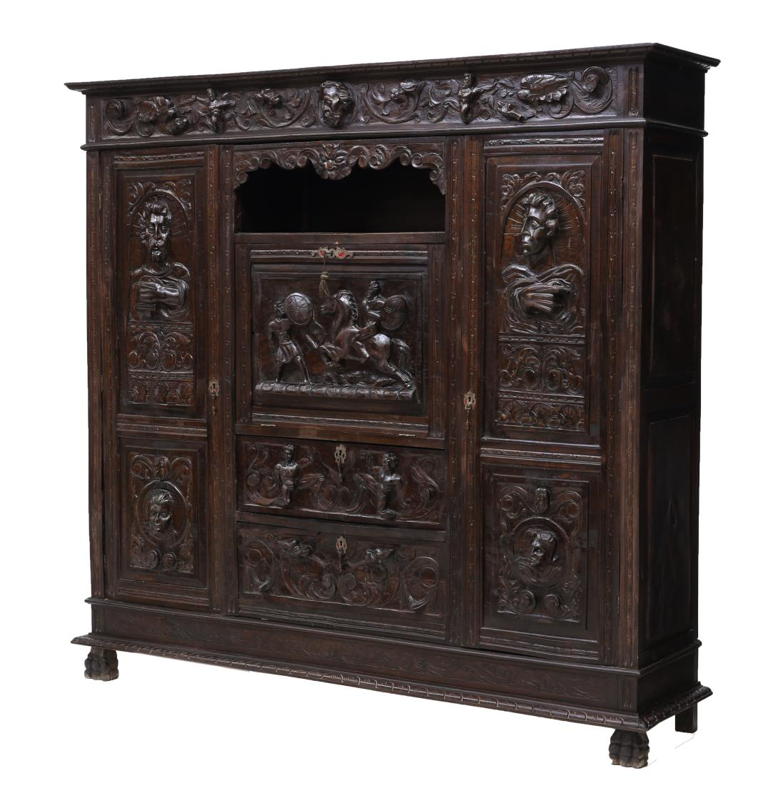 Spanish Heavily Carved Baroque Bookcase 19th C Day 2