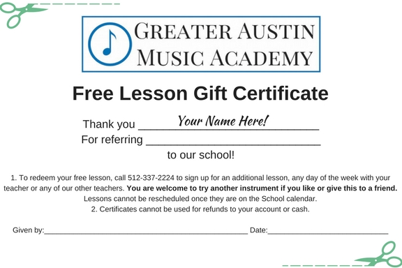 GAMA Music Lesson Certificate - Greater Austin Music Academy