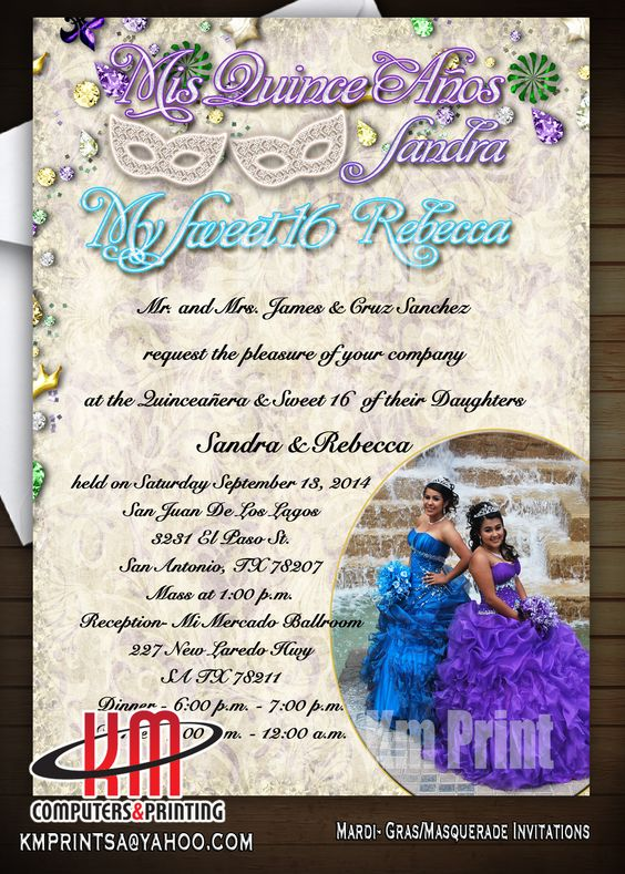 Cool quinceanera invitations in Austin TX 15 invitations in Austin