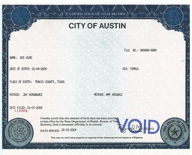Birth Certificates Health and Human Services AustinTexasgov - birth certificate