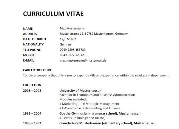 Resume Sample Format Curriculum Vitae English Word Vorlage CV RESUME ...