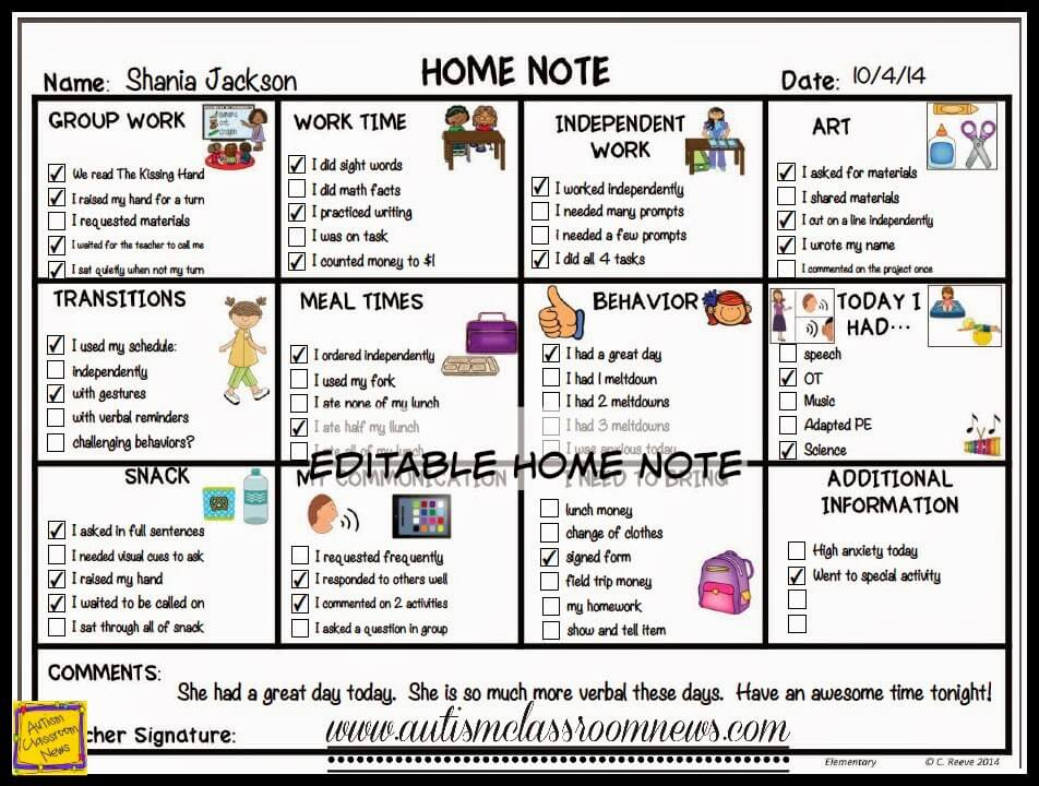 Special Education Home-School Communication for All Ages - Autism - behavior log examples