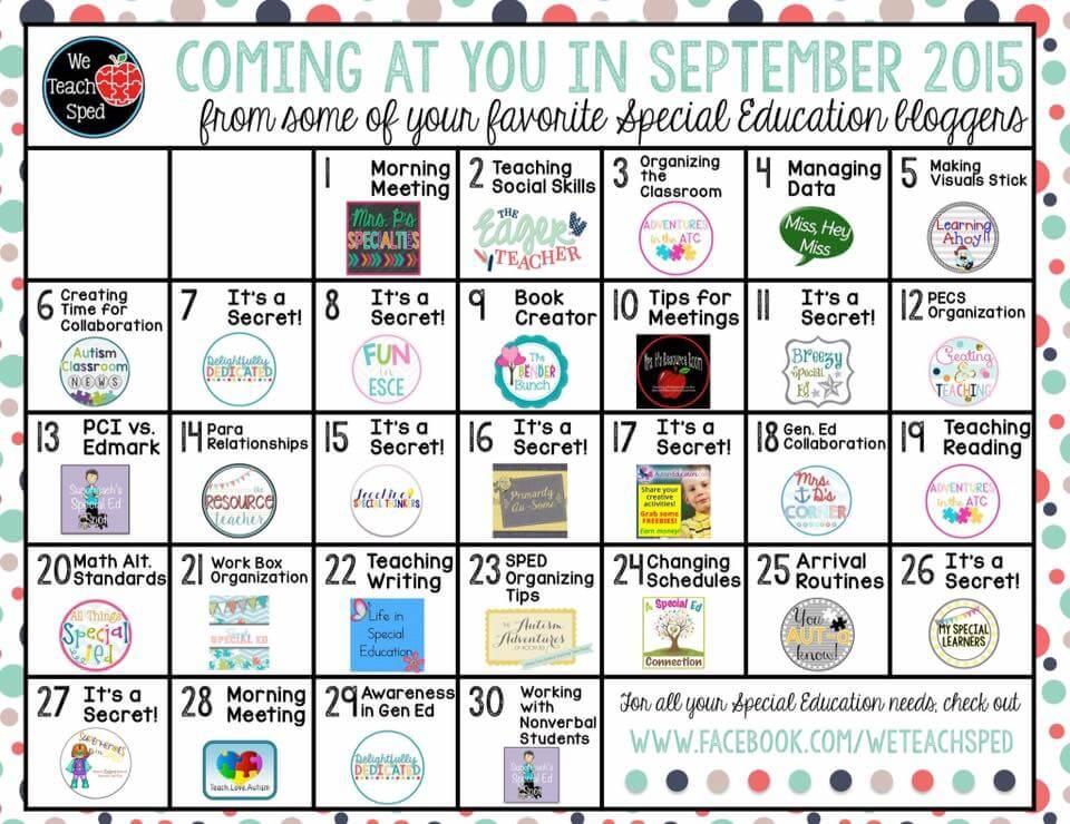 We Teach SPED Sept Calendar - Autism Classroom Resources