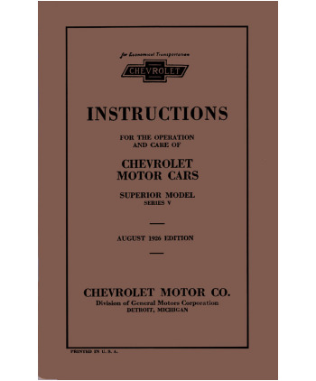 1926 CHEVROLET SUPERIOR SERIES V Owners Manual