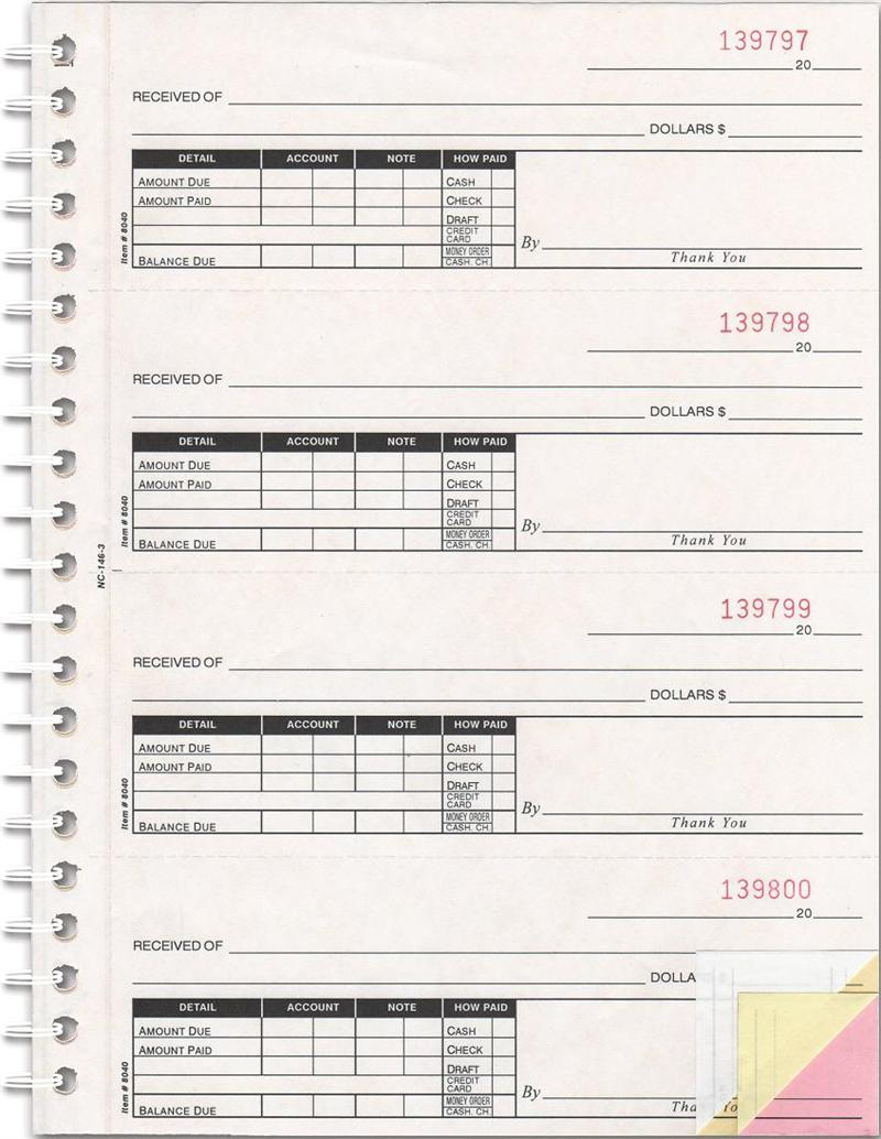 cash receipt book
