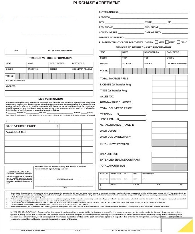 Purchase Agreement Forms #7382 AutoDealerSupplies is your #1