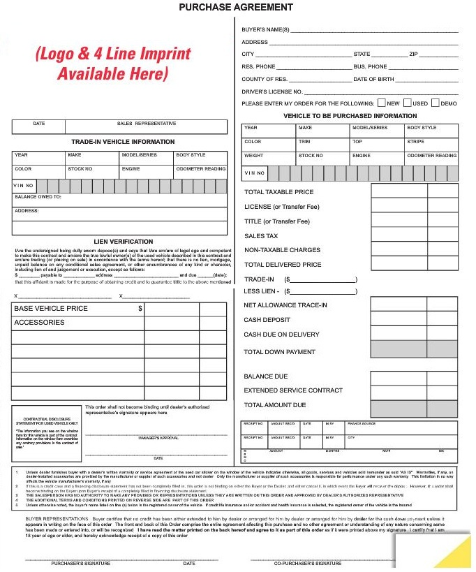 Purchase Agreement Forms Custom #7382imp AutoDealerSupplies is