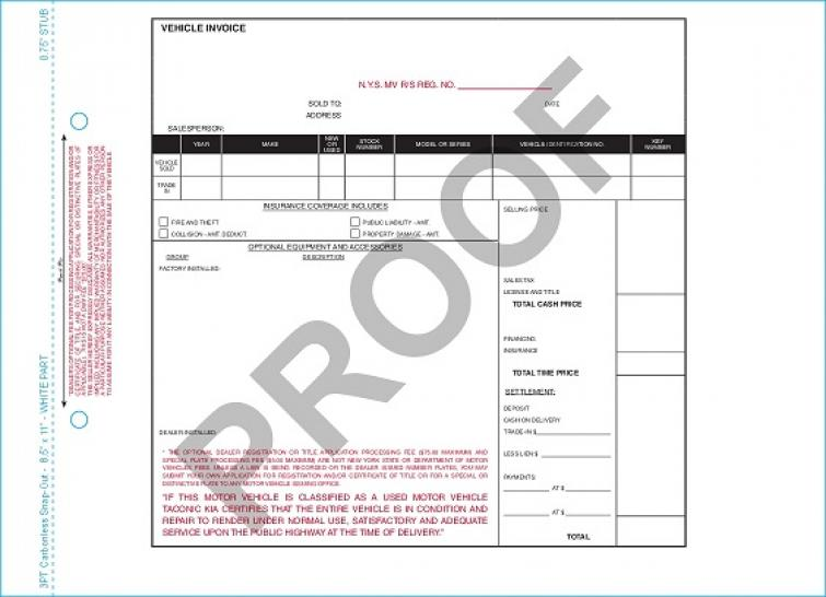 VEHICLE INVOICE FORM 1127279 - PKG OF 2000 AutoDealerSupplies