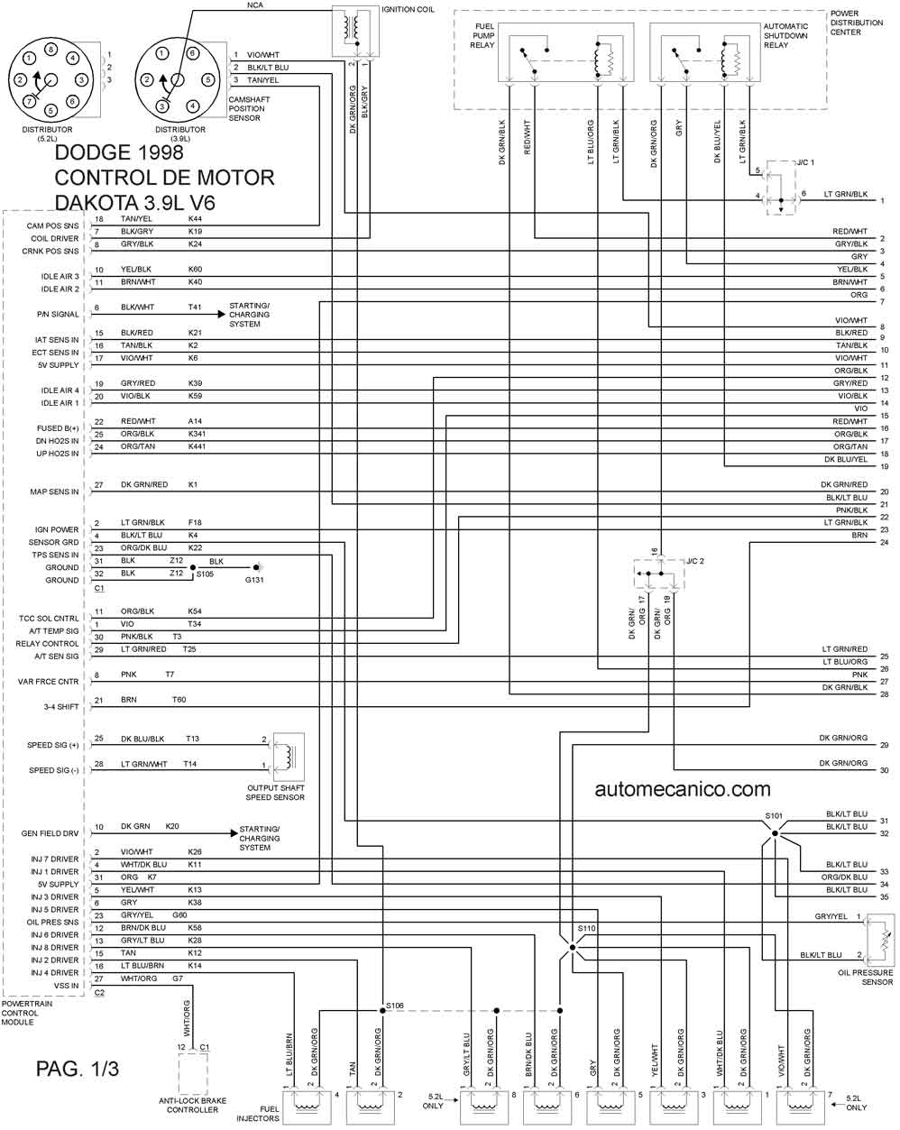1998 dodge dakota diagrama de cableado