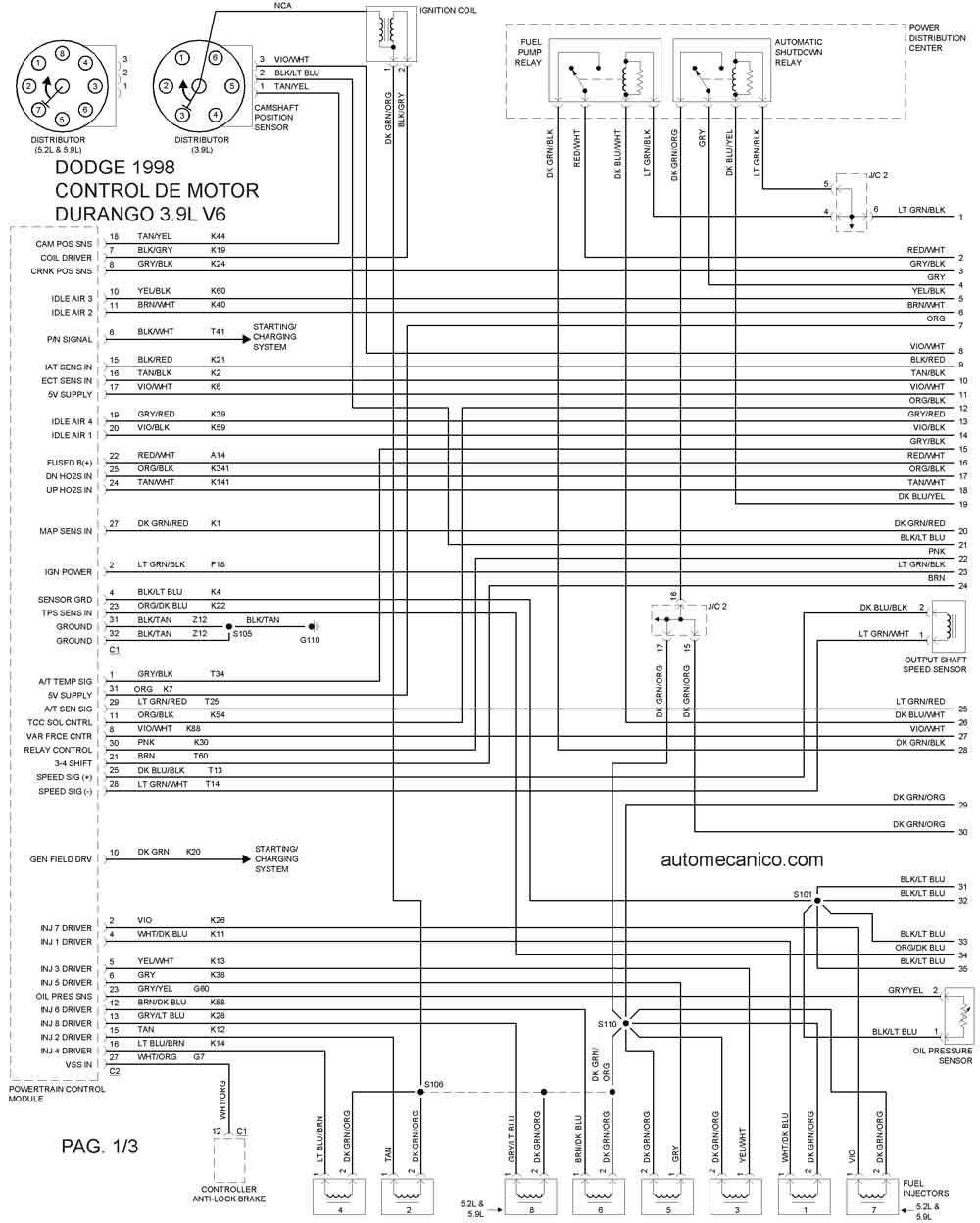 1998 dodge durango Diagrama del motor