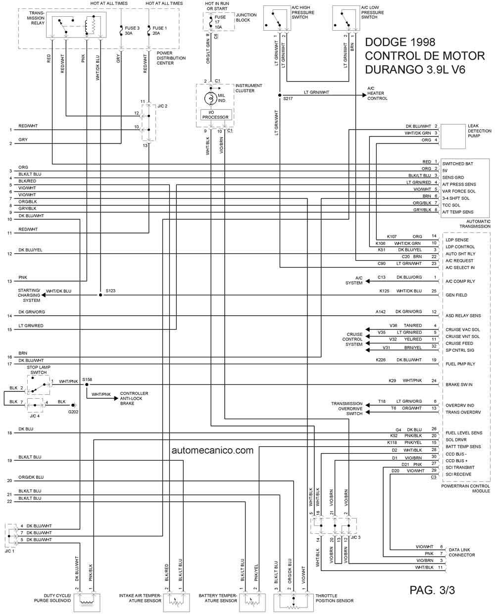 2001 dodge durango Diagrama del motor