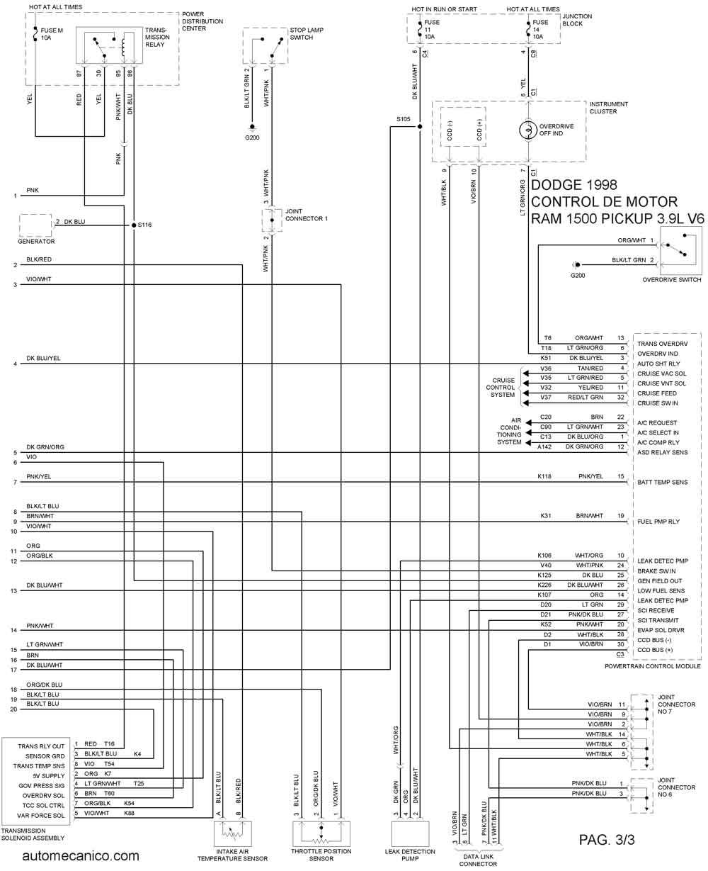 1991 dodge pickup diagrama de cableado sbec