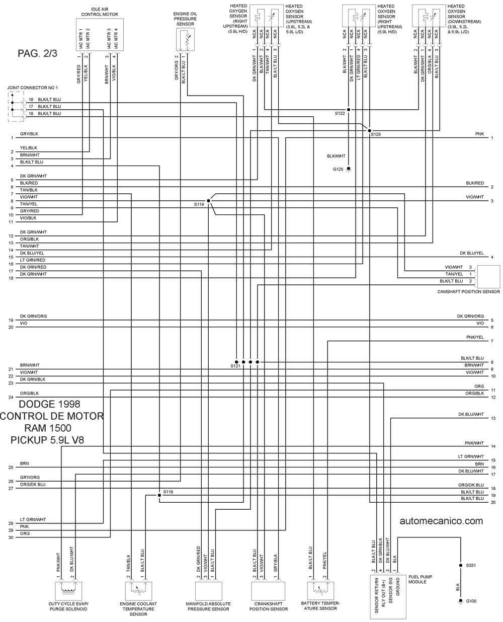 1998 dodge ram 1500 Diagrama del motor