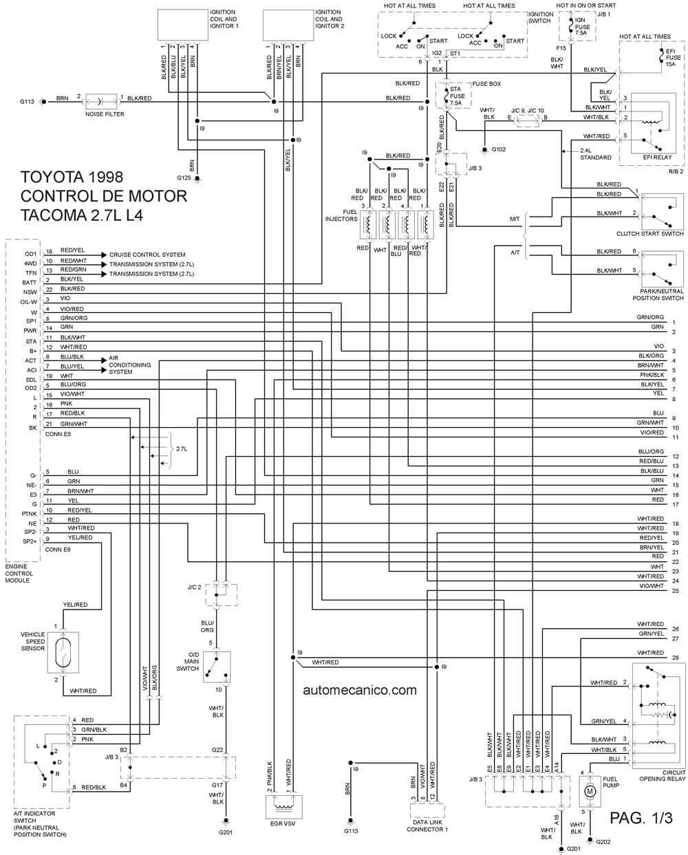 toyota 3 4l v6 Diagrama del motor