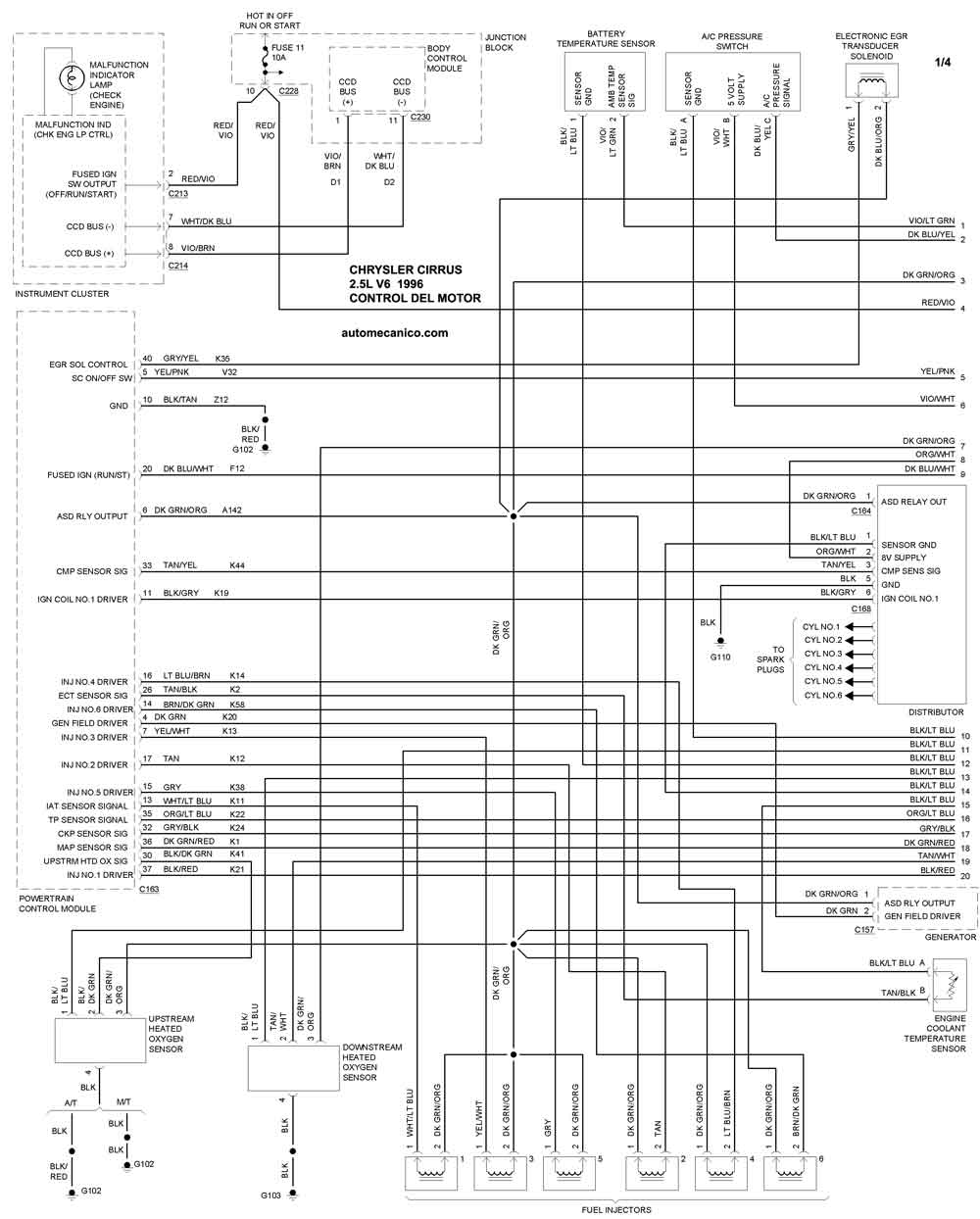 chrysler 2 7l Diagrama del motor