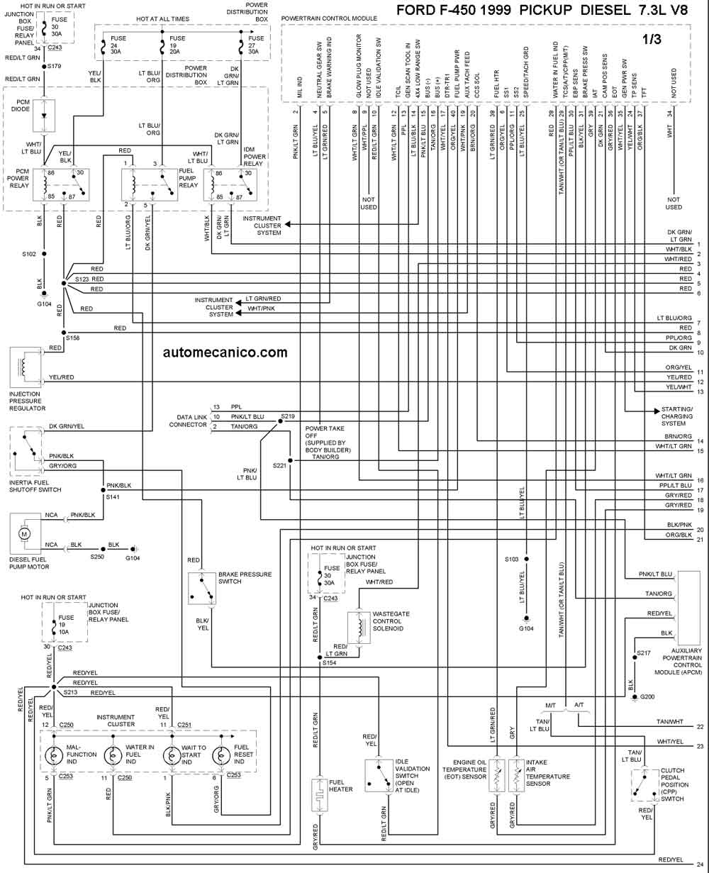 7 3 diesel Motor diagrama de cableado