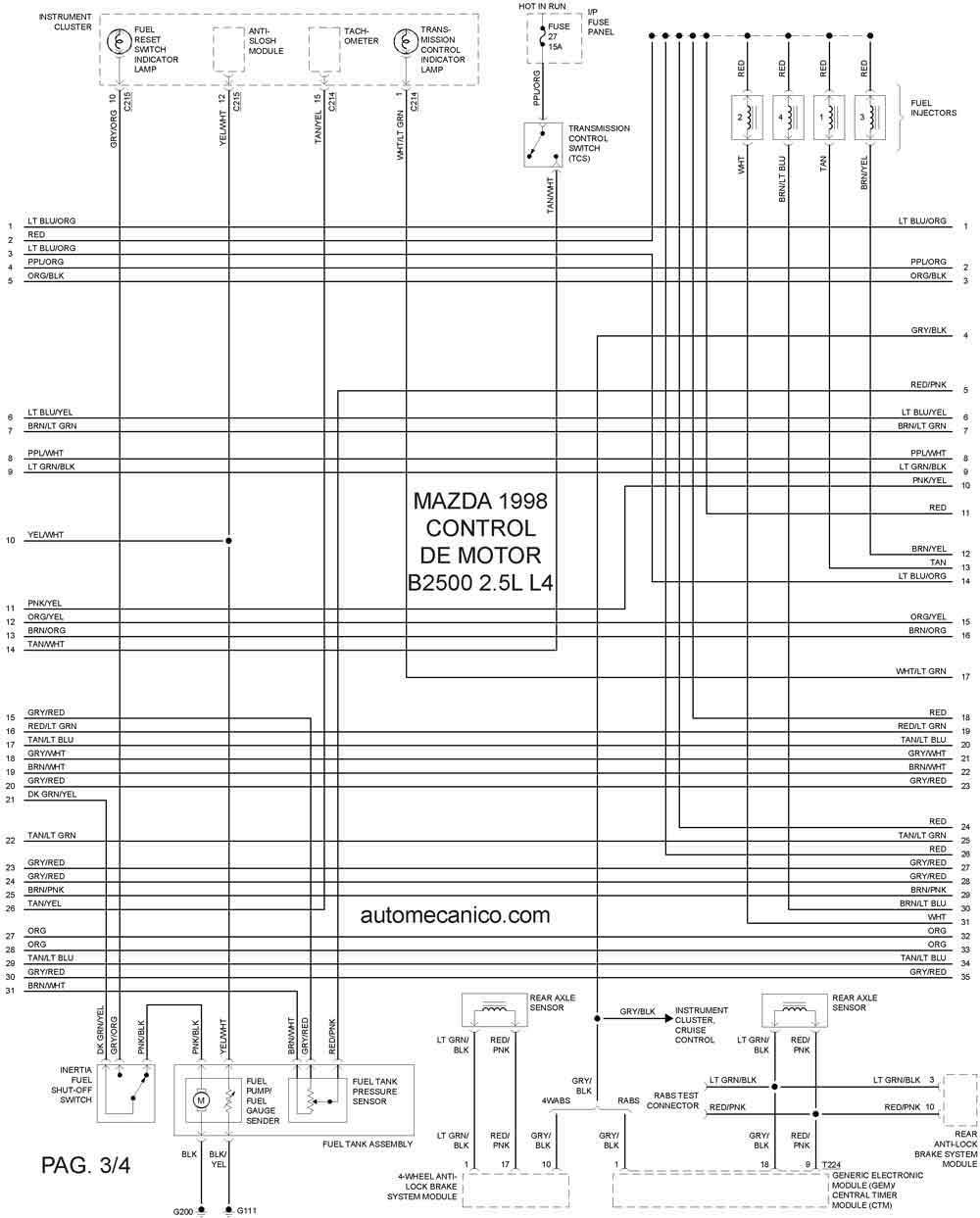 1998 mazda 626 Diagrama del motor