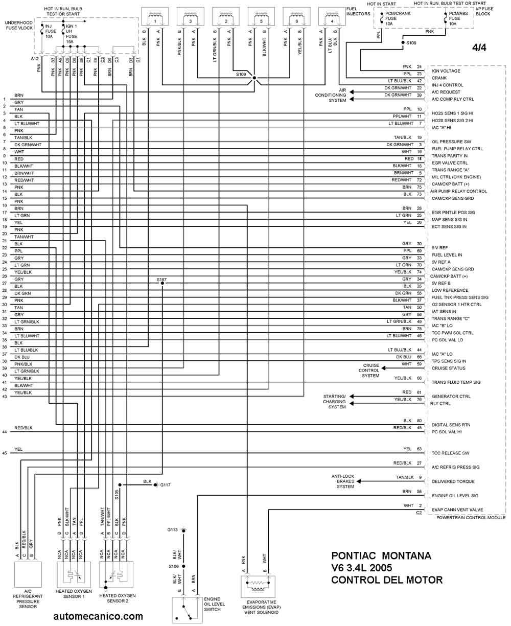pontiac vibe Diagrama del motor