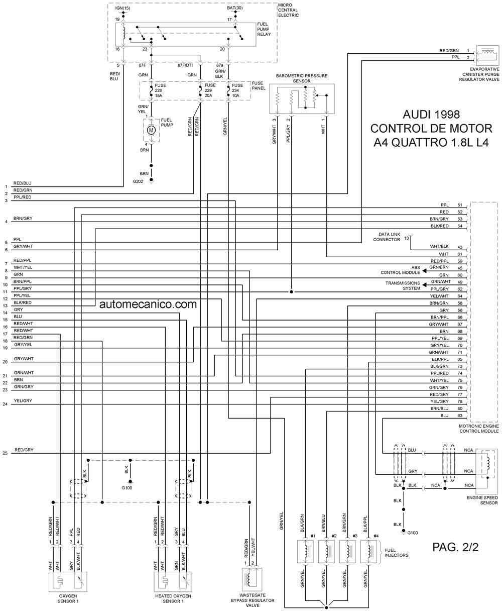 1998 audi quattro diagrama de cableado