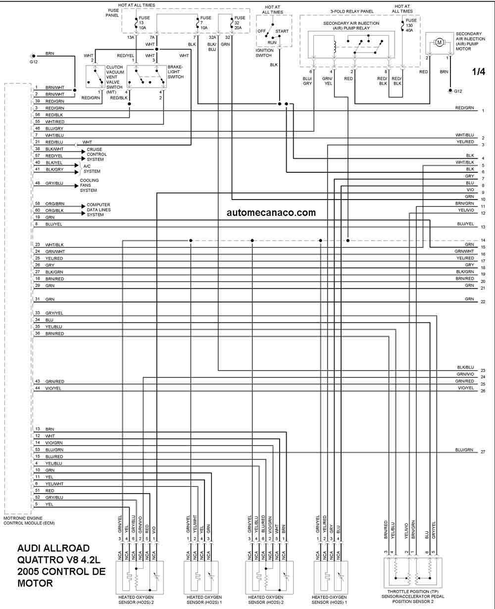 audi 4 2 v8 Diagrama del motor