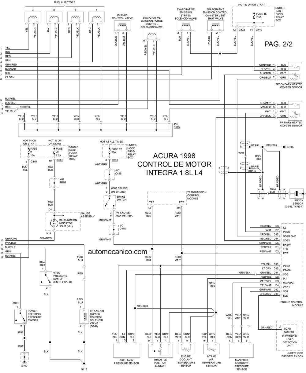 8l 4 cilindros 1 2 diagrama control del motor