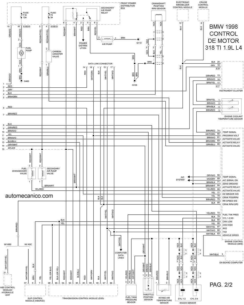 1998 bmw Diagrama del motor