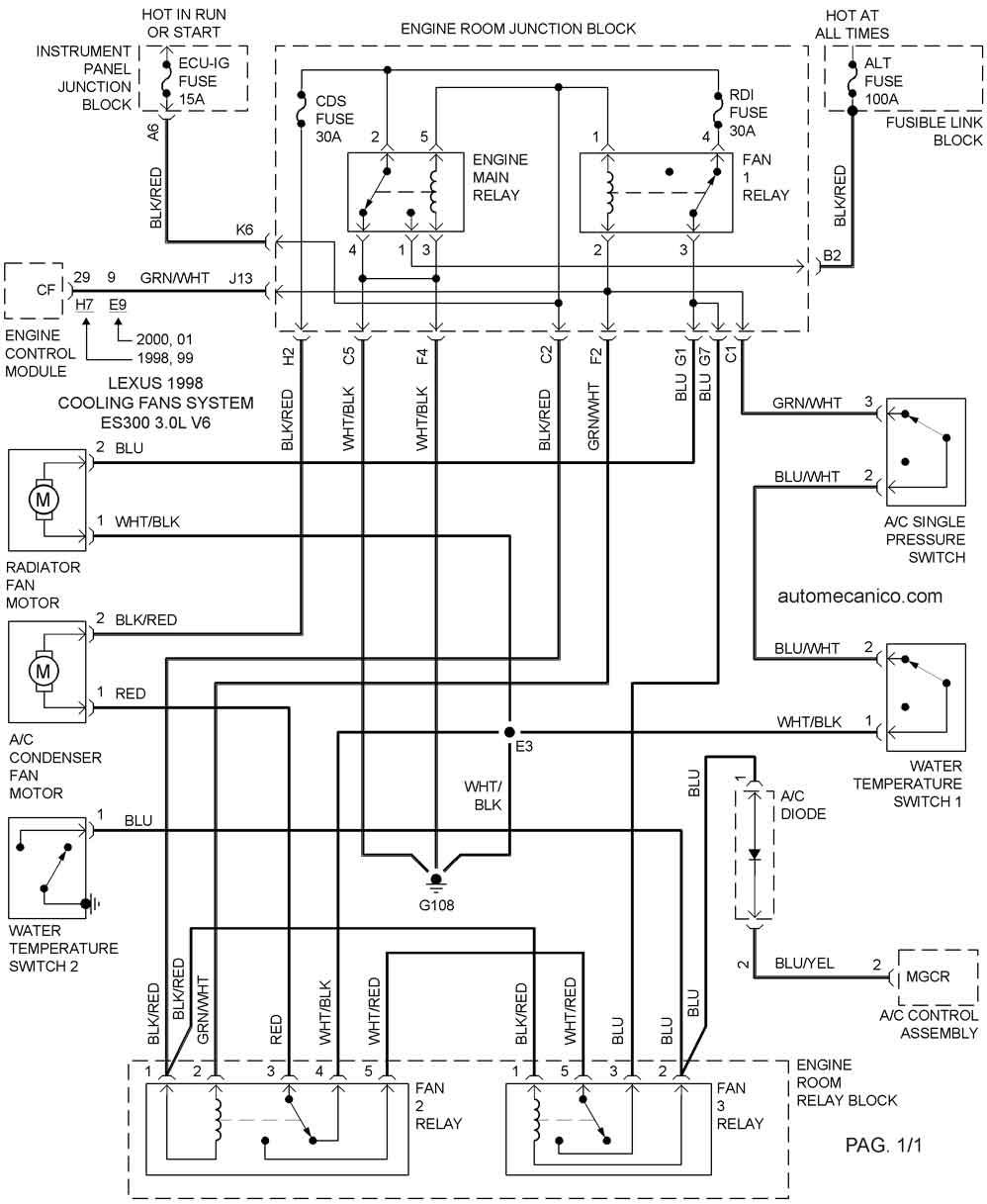 1994 lexus es300 Diagrama del motor