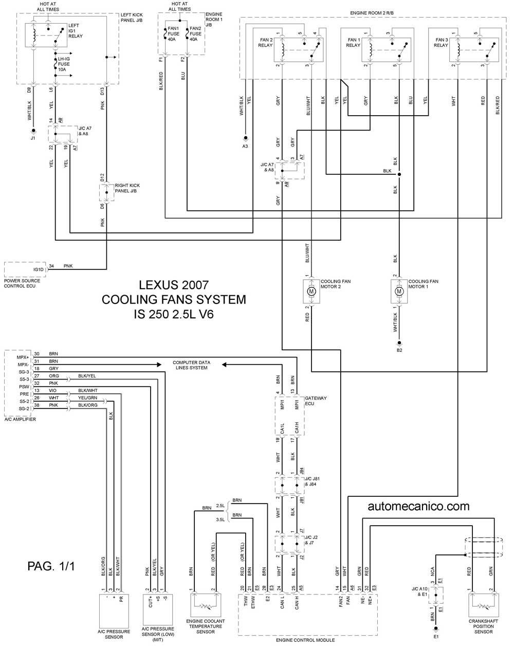 lexus diagrama de cableado abanico