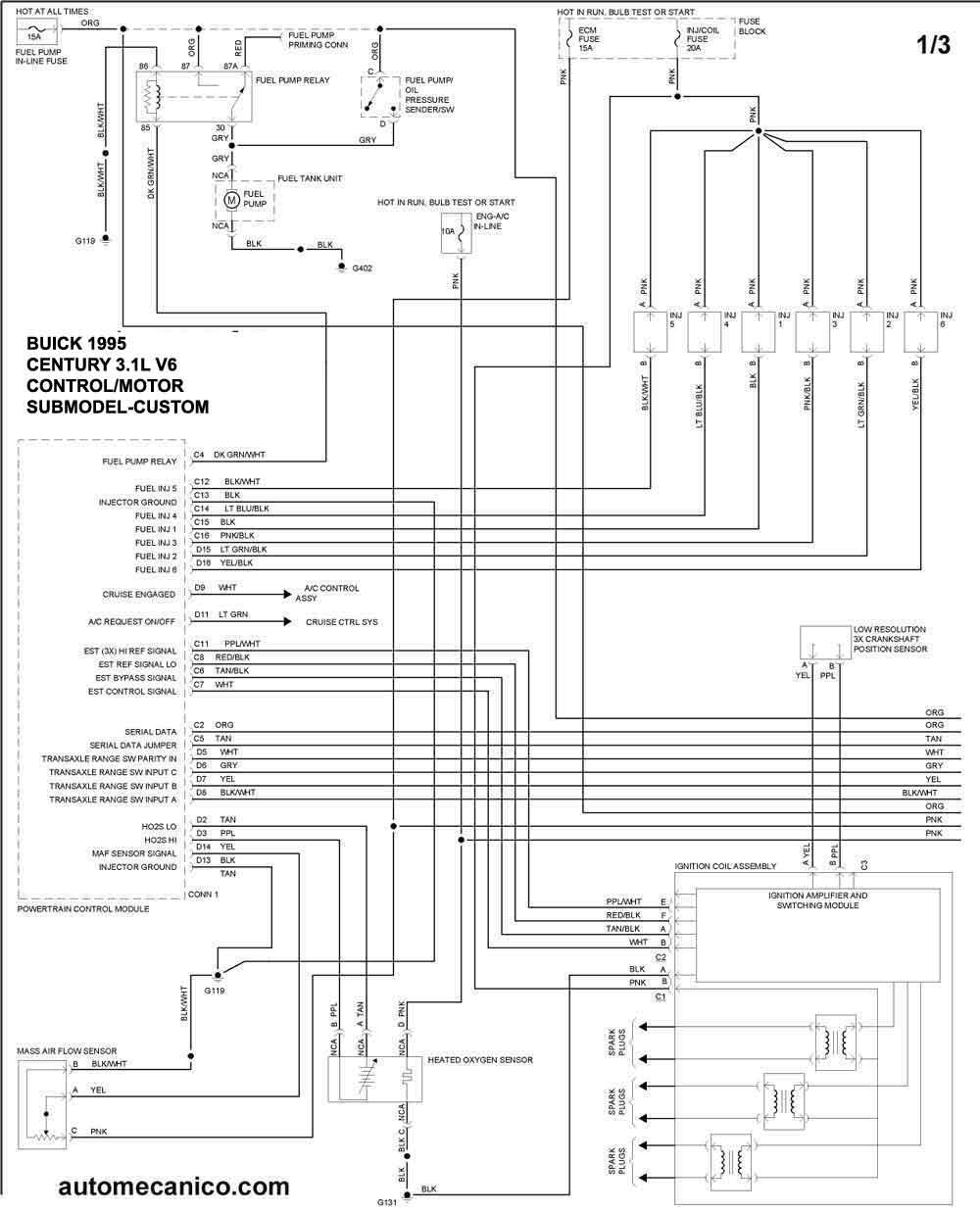 1995 buick 3 1l Diagrama del motor