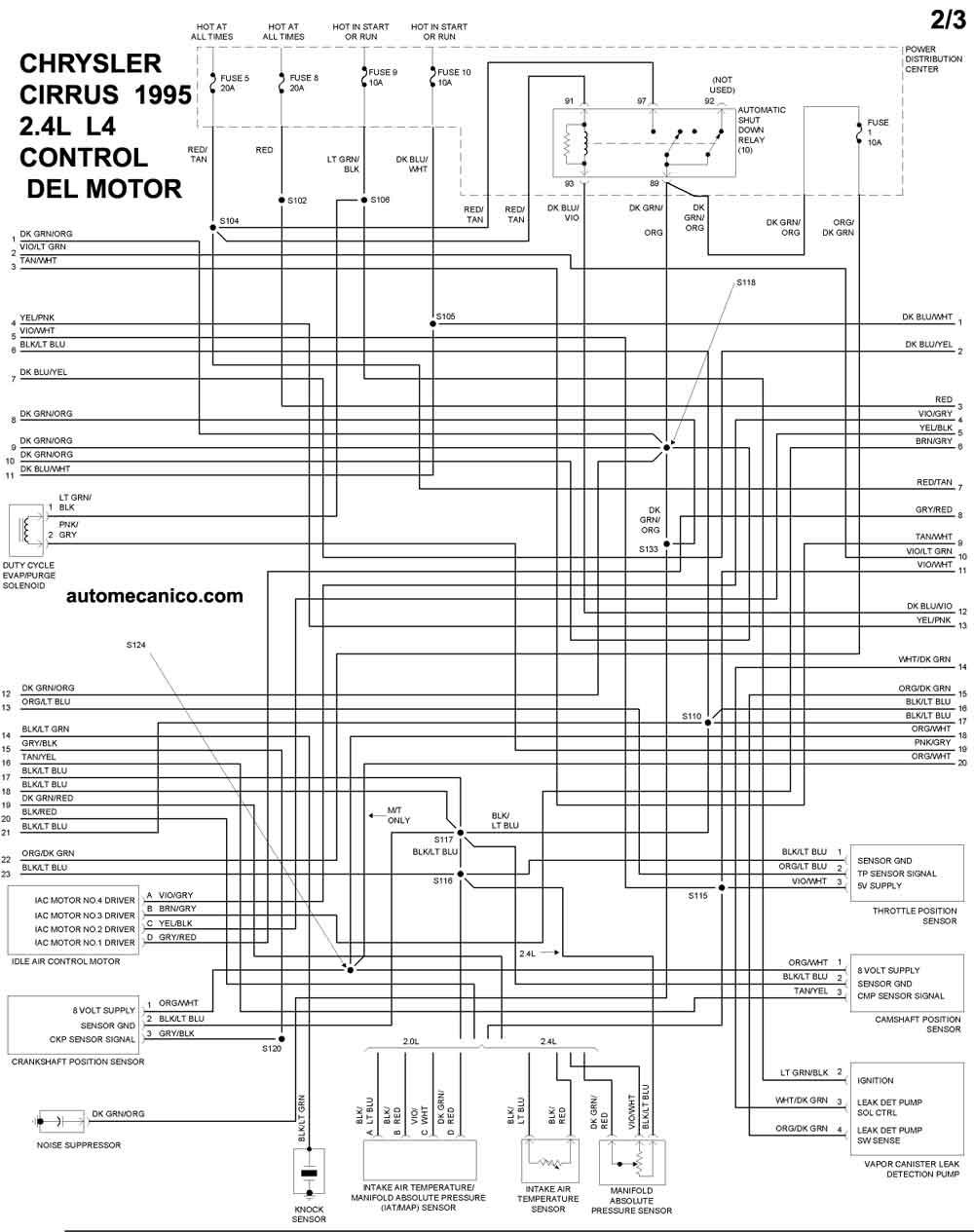 chrysler la Diagrama del motor