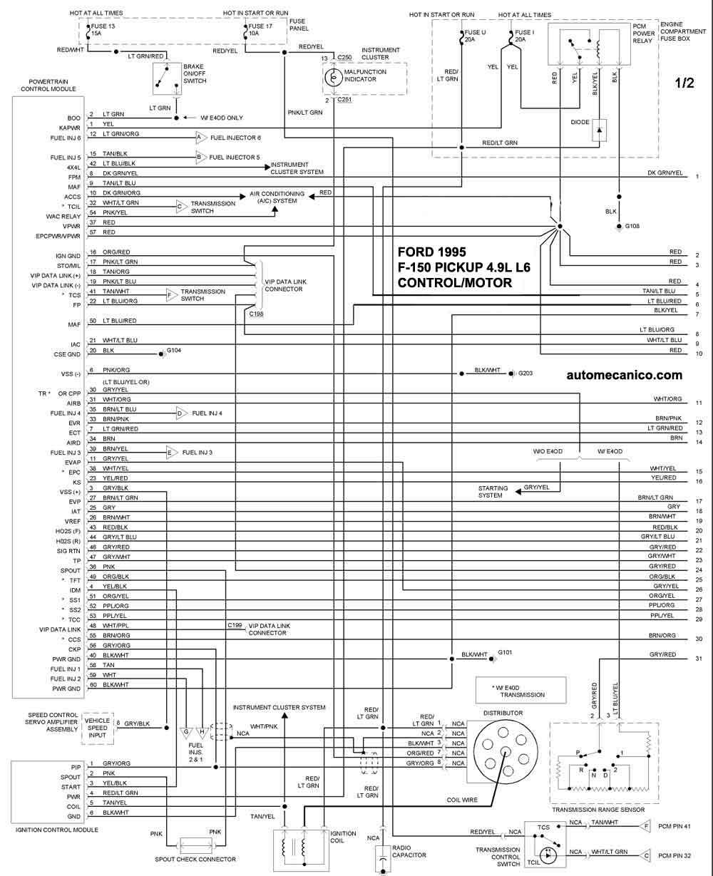 4 9l ford Diagrama del motor