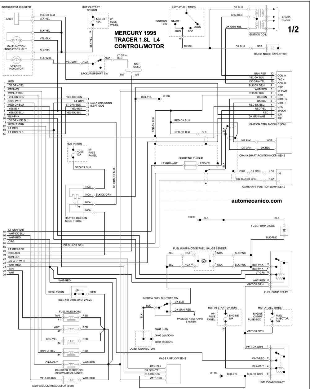 1995 mercury tracer Diagrama del motor