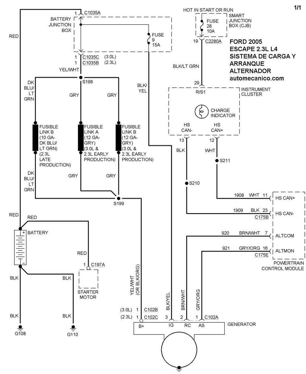 ford escape diagrama de cableado