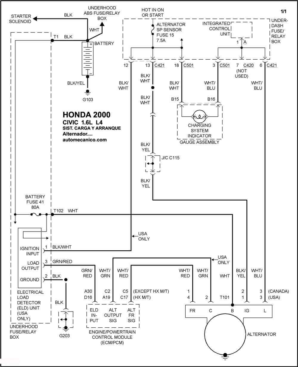 honda diagramas sistema de carga y arranque 2000 accord civic crv