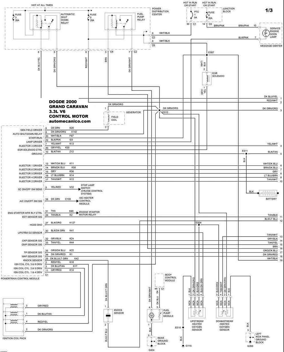 2000 dodge grand caravan Diagrama del motor