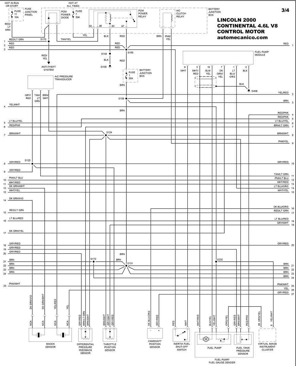 2000 lincoln continental Diagrama del motor