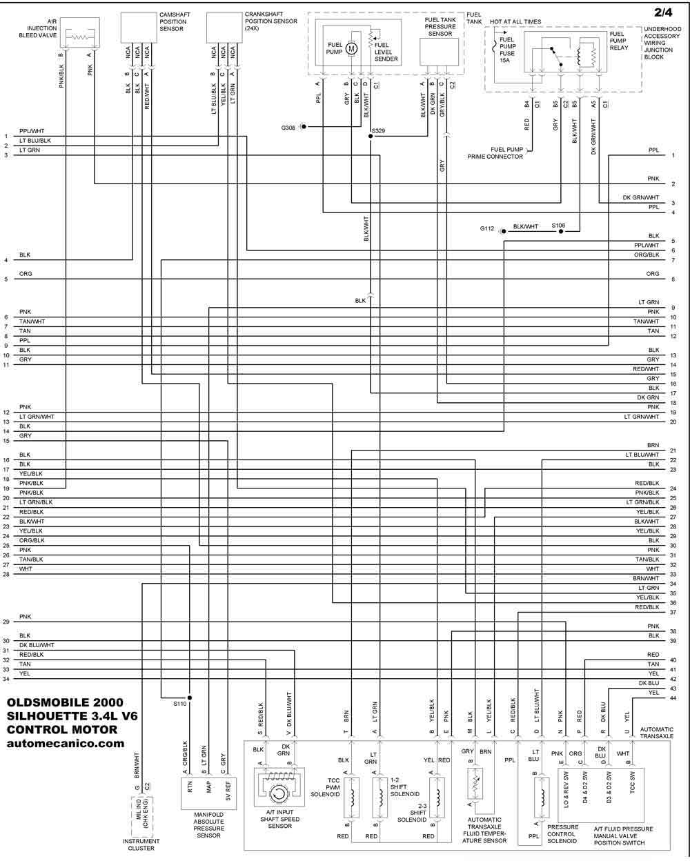 2000 oldsmobile intrigue Diagrama del motor
