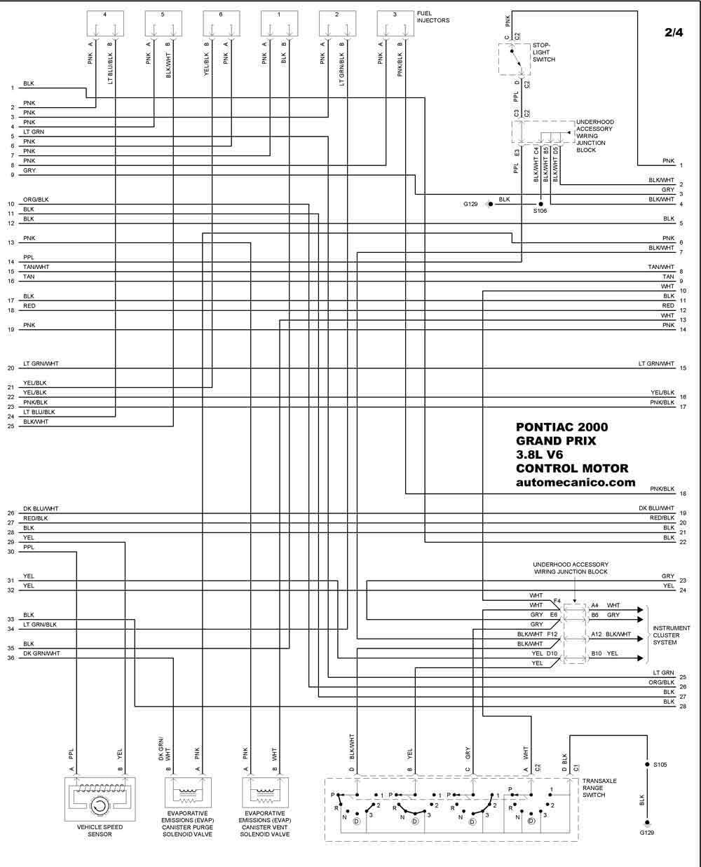 3 8l v6 Diagrama del motor