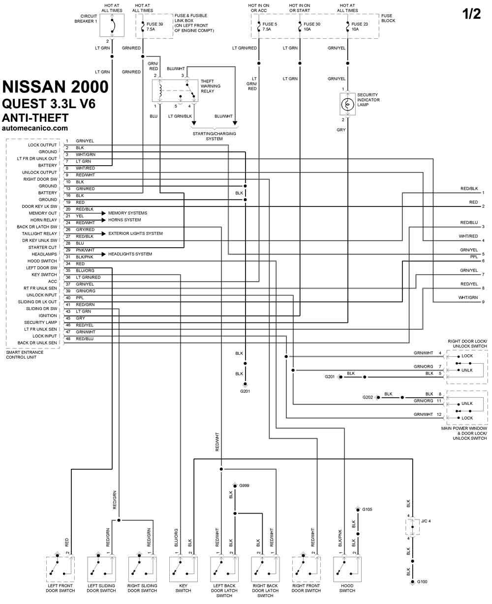 diagrama de nissan sentra 2001