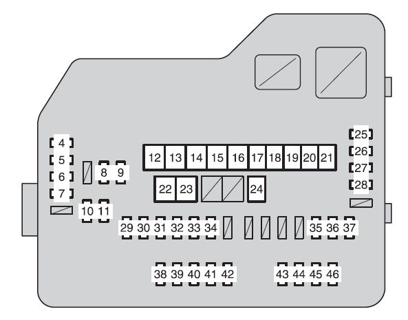 Toyota Highlander (XU40; 2007 - 2008) - fuse box diagram - Auto Genius