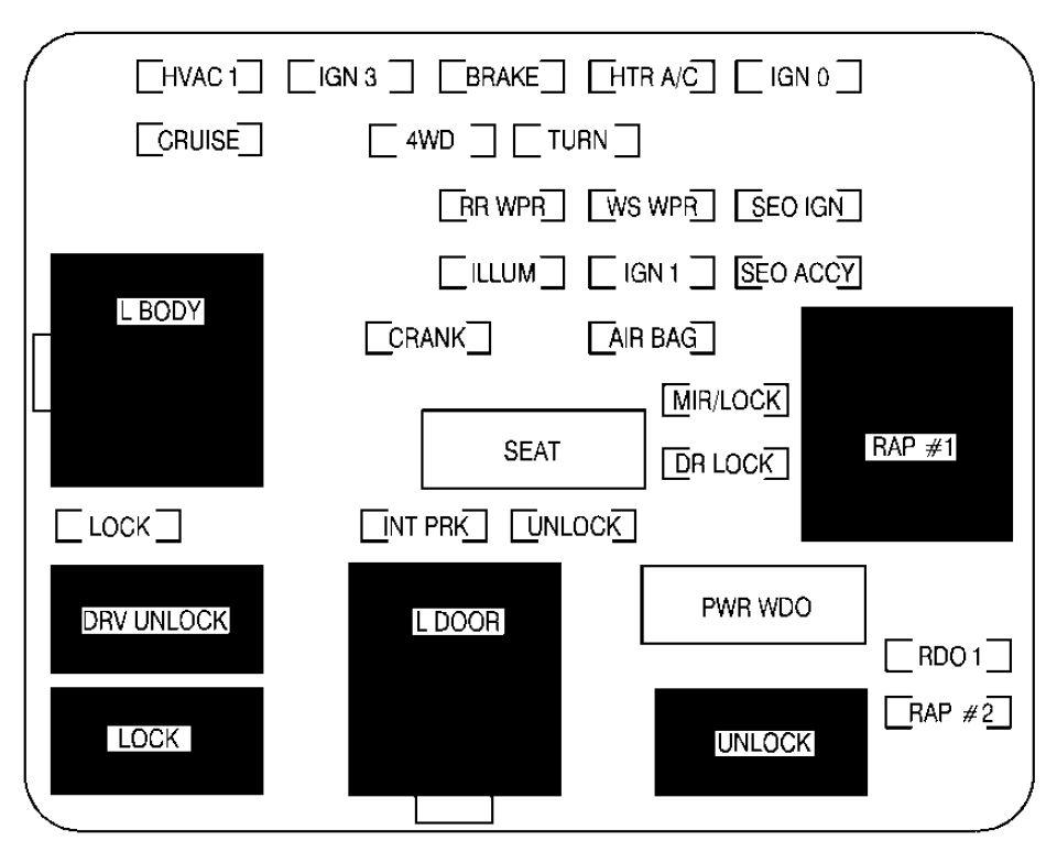 Cadillac Escalade (2001 - 2002) - fuse box diagram - Auto Genius