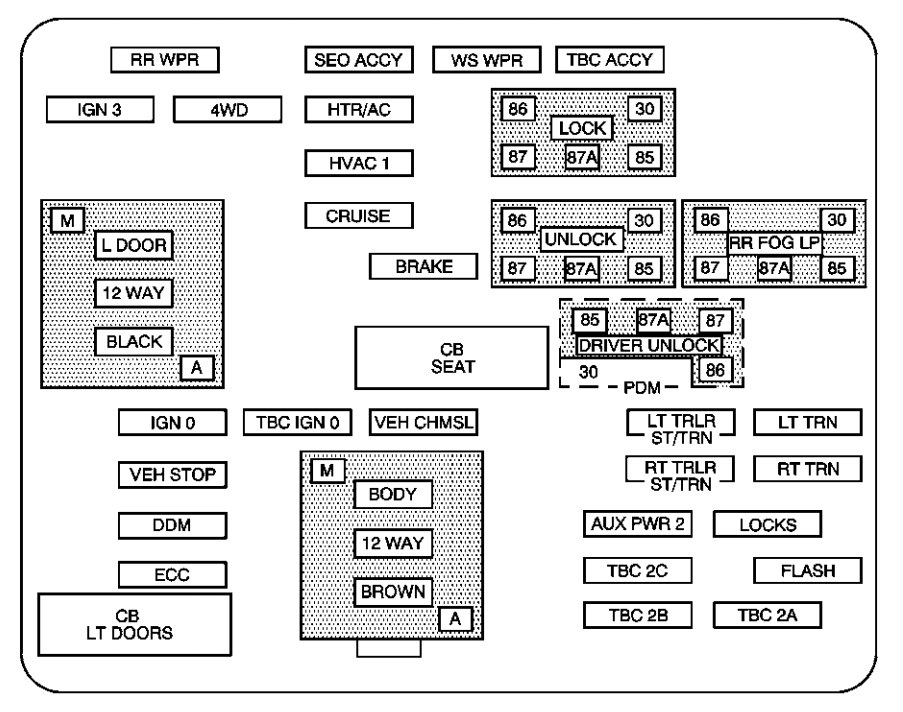Chevrolet Suburban (2004) - fuse box diagram - Auto Genius
